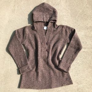 Columbia Brown Speckled Hooded Button Up Sweater